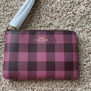 Checkered Coach Wristlet purple and black